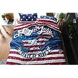 100% algodón estilo vintage de la bandera americana y manta rayas águila imprimir Edredón cubrir conjunto 4pcs conjuntos de ropa de cama doble