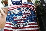 LifeisPerfect 100% Baumwolle Vintage Style Amerikanische Flagge Streifen und Eagle Drucken Decke Bettdecke Set 4-tlg Bettwäsche Doppel
