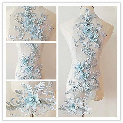 bridallaceuk 3D-Spitzenapplikation, Blumen-Aufnäher, ideal zum Basteln, Nähen, Kostüme, Abenden, Braut-Tops, 20 cm x 72 cm, A1 hellblau