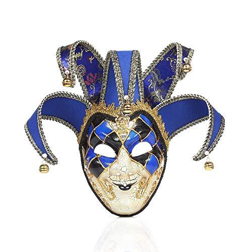 AUED Cosplay Masken Requisiten, Rave Gesichtsmaske Kostüm Clown Maske Halloween Party Maskerade Karneval Dekoration Requisiten Kreative,Blau