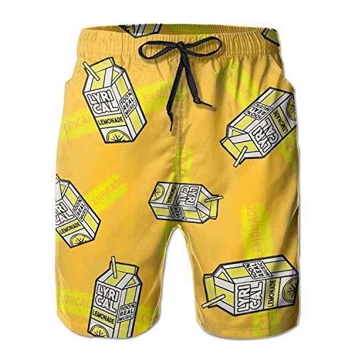 Dc Mens Dress (ZKHTO Lyrical-Lemonade Men Quick Dry Outdoor Shorts Soft Drawstring Boardshort with Pockets)