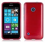 Cadorabo DE-104787 Nokia Lumia 530 Handyhülle aus TPU Silikon in gebürsteter Edelstahloptik (Brushed) Rot