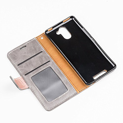 YHUISEN BQ Aquaris U Plus Case, Patchwork Magnetverschluss Design PU Leder Flip Wallet Schutzhülle mit Card Slot Stand für BQ Aquaris U Plus ( Color : Gray ) Gray
