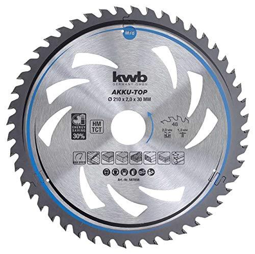kwb 587856 - Hoja de sierra circular de ahorro energético Easy Cut (210 x 30 mm, corte fino, 48 dientes, dentado especial intercambiable)