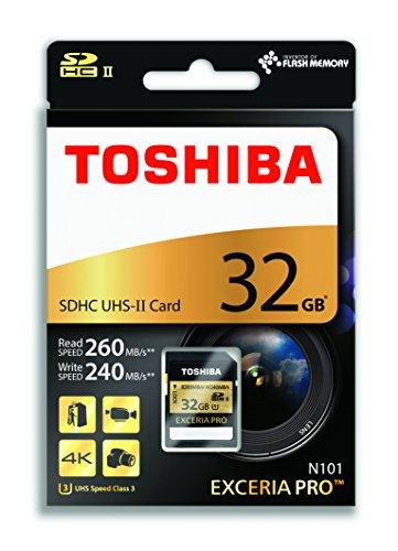 Toshiba 32 GB Exceria PRO 32GB SDHC UHS Class 3 memory card - Memory Cards (32 GB, SDHC, Class 3, UHS, 260 MB/s, Black)