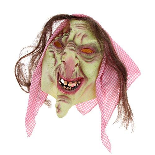 Baoblaze Horrormaske Clown Hexe und Zombie Latex Maske Halloween Cosplay und Karneval Kostüm Accessoires, Eine Größe für alle Menschen, Bequem und Atmungsaktiv - Alte Hexe