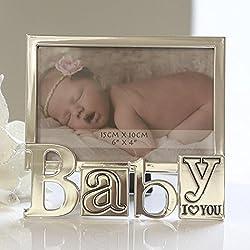 Marco De Fotos Marco De Cuadro Moderno fabricado en aluminio plata I LOVE YOU bebé 10x15 cm