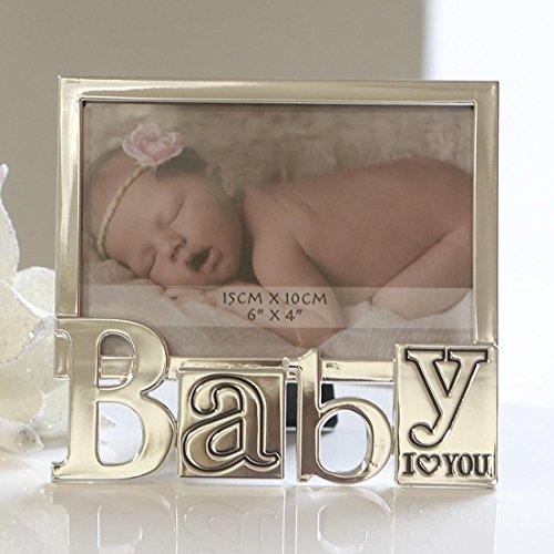 Moderner Bilderrahmen Fotorahmen aus Aluminium silber I LOVE YOU BABY 10x15 cm