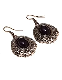 Handmade Jewelry Black Onyx Sterling Silver Overlay Earring 1.5 Top On Ternding