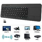 WisFox Kabellose Touchpad Tastatur, Ultraflaches 2.4-G Kabellose Tastatur mit Einfacher Mediensteuerung und Eingebautes Großes Multi Touch Trackpad für Smart TV HTPC PC Tablet Google Windows Android