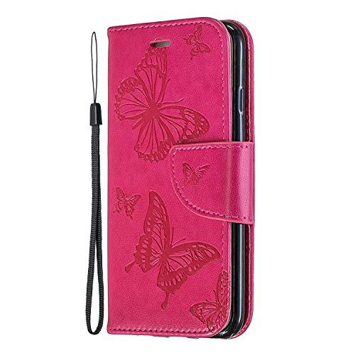 Miagon für Huawei P20 Lite Leder Hülle,Prägung Schmetterling Muster Kunstleder Magnetverschluss Standfunktion Kartenfächer Flip Schutzhülle Brieftasche