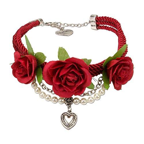 Alpenflüstern Blüten-Trachten-Collier Celine - Trachtenkette mit Satin-Kordeln und Stoff-Blumen - Damen-Trachtenschmuck mit Perlenketten...