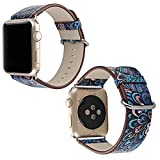 Apple Watch Bracelet en Pu Cuir avec Motif à Fleurs Multicolor 42mm, Sasairy Femme Sangle de Montres Band Bracelet de Remplacement Pour Apple Watch Series 1/Series 2