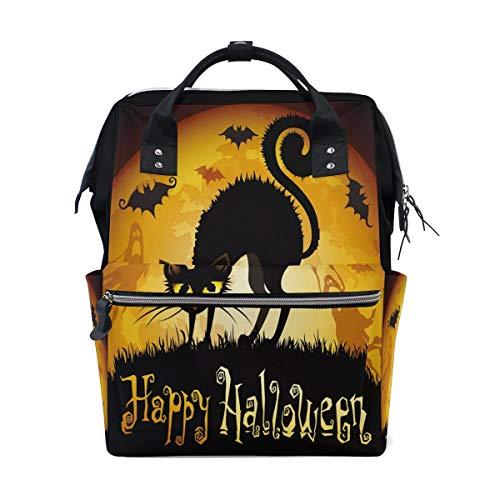 bis Mond Katze Kätzchen Fledermaus Multifunktions Wickeltaschen Rucksack Reisetasche ()