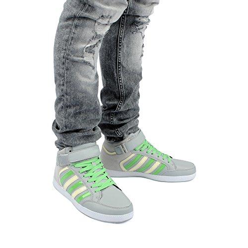 Herren Damen Sportschuhe High Top Sneaker Velours-Optik Basketball Lack Freizeit Unisex Schuhe Weiss/Grün-M