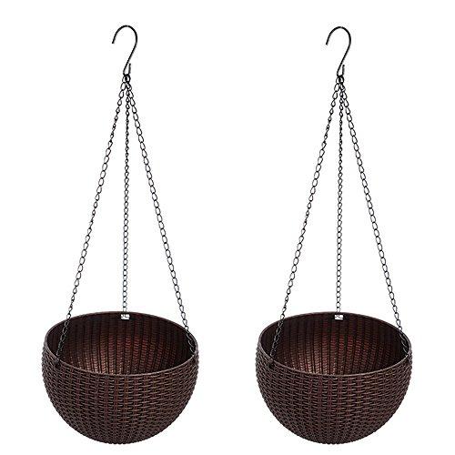 cestas de plantador colgantes, maceta colgante con drenaje auto riego interior exterior maceta de jardín balcón patio decoración del hogar, juego de 2 - café