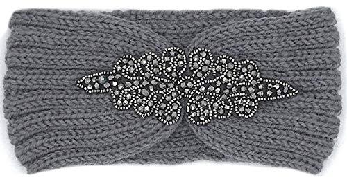 Fashion YOU WANT Damen Stirnband mit Schleifenmuster geflochten mit Perlen Glitzer oder Uni Gestrickt Stirnband Häkelarbeit Schleife Design Winter Kopfband Haarband Trend 2019 (S28) -