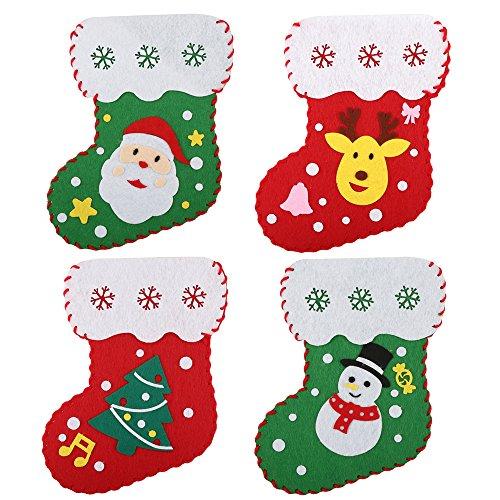 QuetzalY 4DIY Filz Weihnachten Strümpfe Aufhängen Dekoration Socken Candy Geschenk Tasche Party Dekoration, Filz, rot/grün, 7.3''