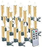 Lunartec Baumkerzen: 20er-Set LED-Weihnachtsbaumkerzen mit Fernbedienung und Timer, Gold (Kabellose Weihnachtsbaumkerzen)