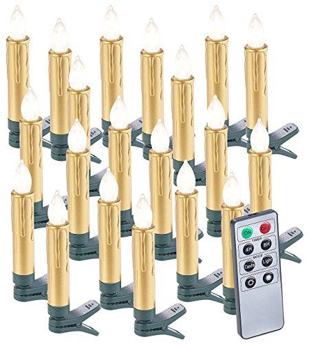 Lunartec Kabellose Kerzen: 20er-Set LED-Weihnachtsbaumkerzen mit Fernbedienung und Timer, Gold (Kabellose Weihnachtskerzen)