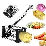 Laxus Pommes Frites Schneider, Edelstahl Pommesschneider Kartoffelschneider Gemüseschneider und Obststiftler mit 2 Klingen Für dünne oder größere Fritten