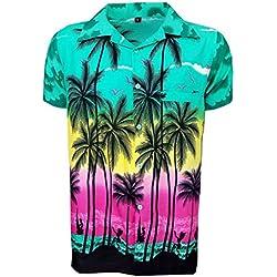 Camisa Hawaiana para Hombre, diseño de Palmeras, para la Playa, Fiestas, Verano y Vacaciones - M - Verde Oscuro