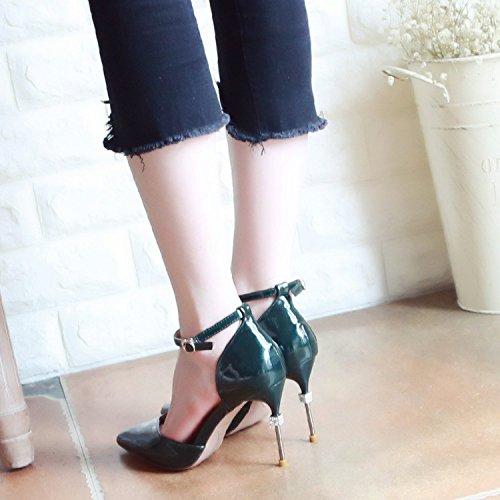 Xue Qiqi Corte Calzature Calzature donna scanalati per la cava di alta scarpe tacco fine con acqua elegante punta trapano luce-scarpe scarpe unico female,38, verde
