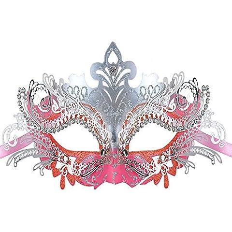cooboo Maschera Maschera in metallo tagliato al laser con strass per Halloween Natale sera, metallo plastica, Pink, Taglia libera
