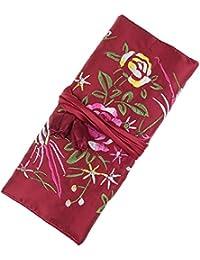 Rollo de joyas, viajes joyas rollo bolsa, seda bordado brocado organizador de joyas funda con corbata estrecha