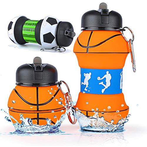 Trinkflasche (Faltbare)|200-550 mL| Metallkarabiner | FDA | LFGB | Wasserflasche Auslaufsicher | Sportflasche BPA-Frei | Kinder, Schule, Sport, Wasser, Fahrrad, Camping, Fußball, Basketball, Tennis