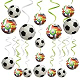 HusDow World Cup Decorations, 30pcs Football Hanging Swirls Ceil Streamers for Home Sports Club Bar Decorations and etc.