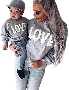 PINEsong Mutter und Kind Lange Ärmel Buchstaben Bluse Tops T-Shirt Familie Kleider Outfits