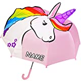 Unbekannt 3-D Effekt _ Regenschirm -  süßes Einhorn - rosa  - incl. Name - Kinderschirm Ø 74 cm / mit Klemmschutz - Kinder Stockschirm mit Griff - Regenschirme - für ..
