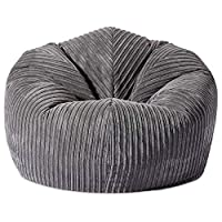 Gilda | Giant Adult Beanbag Classic Soft & Comfy Gaming Jumbo Corduroy Bean Chair Filled With Virgin Beans Beautiful Home Accessory Moulds To Shape Delivered Filled (90x90cm,Grey)
