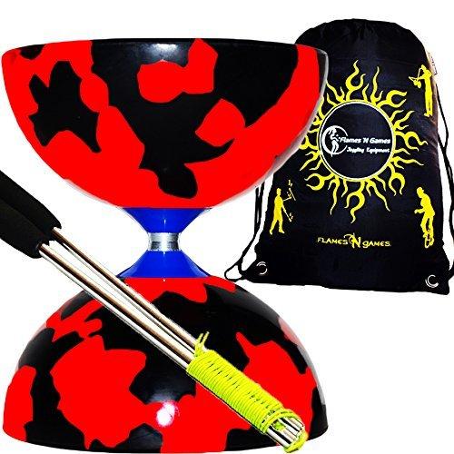 Jester Diabolo Set (schwarz/rot) + Metall Diabolo Sticks, Diablo String & Reisetasche.