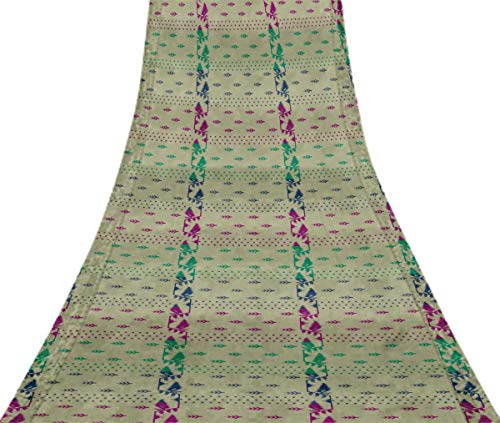 Svasti belwari Jamdani Vintage Sari Refurbished turkis grun 100% reine Seide gedruckt Craft Stoff 1 Yard -