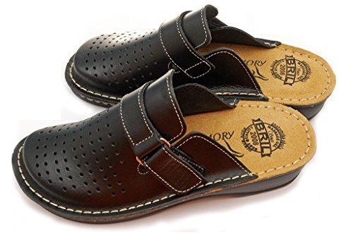 Dr Punto Rosso BRIL D52 Sabots Mules Chaussons Chaussures en Cuir Femme Dames Noir