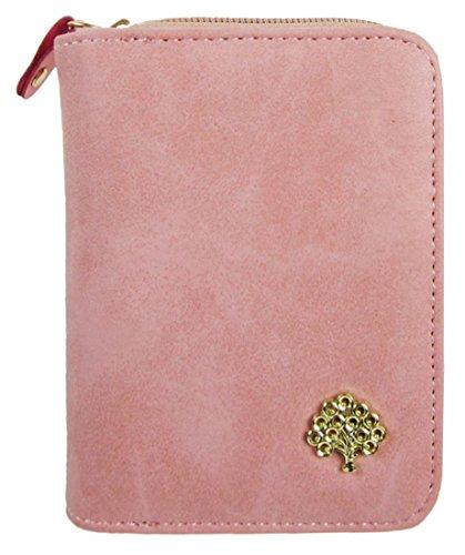 Kukubird Morbida Ecopelle Con Frontale In Metallo Albero Abbellimento Dettaglio Medio Ladies Frizione Pelle Portafoglio Pink