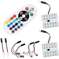 S & D 2x T10/BA9S/Festone Cupola per pannello LED luce–3adattatori con più colori RGB