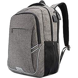 Mochila Para Portátiles Laptop Mochilas Antirrobo Impermeable Mujer Daypack Mochila con USB Puerto de Carga ,Mochila de Negocios Hombre Gris