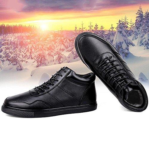 SYYAN maschi inverno Vera pelle Cinturino frontale piatto Mantieni caldo impermeabile allenatore scarpe sportive adding cotton - black