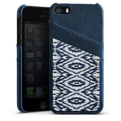 Apple iPhone 5 Housse Étui Silicone Coque Protection Motif Motif Ornements Étui en cuir bleu marine