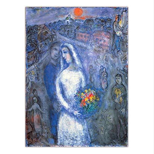 Kunst Leinwand-druck - (taoyuemaoyi Wohnkultur Druck Leinwand Kunst Wandbilder Salon Poster Marc Chagall Liebhaber 40 * 60 cm)