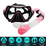 Maschera Da Sub Set Per Snorkeling PLUIESOLEIl Vetro Temperato Antiappannamento (rosa)
