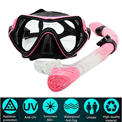 PluieSoleil Maschera da Sub Professionale Vetro Temperato Antiappannamento per visibilità cristallina (Rosa)