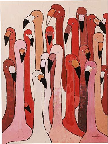 Kare Design Bild Touched Flamingo Meeting, XXL Leinwandbilder auf Keilrahmen, Wanddekoration mit Flamingo, rot, rosa, (H/B/T) 120x90x4cm (Bilder Von Einem T)