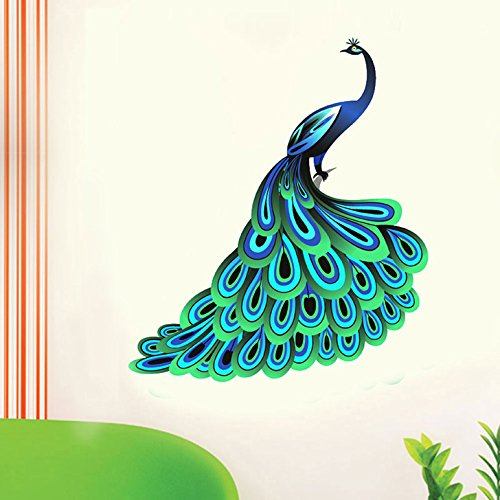 Decals Design 'Unique Blue Peacock' Wall Sticker (PVC Vinyl, 90 cm x 60 cm)