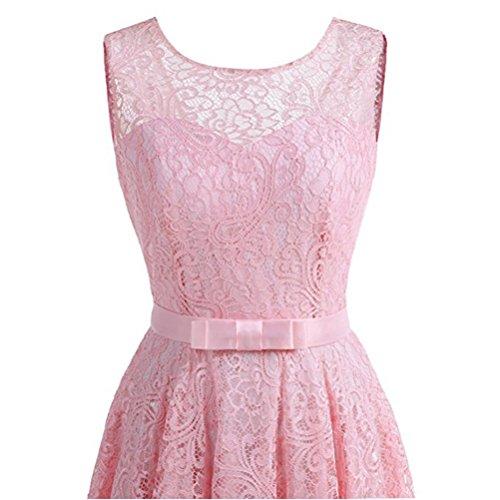 Robe Dentelle Femme Robe de Cocktail de mariage Vintage Sans Manches Col Rond avec une ceinture pink