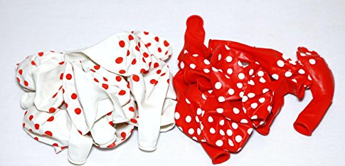 vinayaka mart (red & white) colour Polka Dot Balloons - pack of 200 with Handy Air Balloon Pump (Multi color)