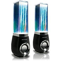 Metronic 477071 Water Dancing - Altavoces con cable 6W para PC con chorros de agua y luz, negro